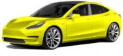 Tesla Model 3 in het geel